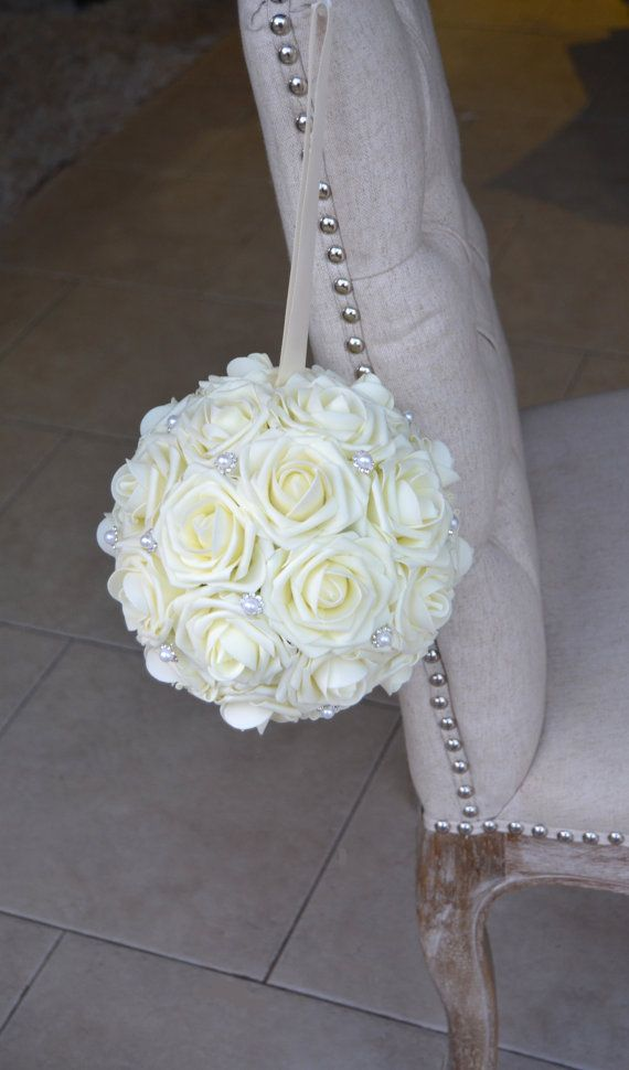 IVORY Flower Ball with Bling Pearl Brooch. Real by KimeeKouture