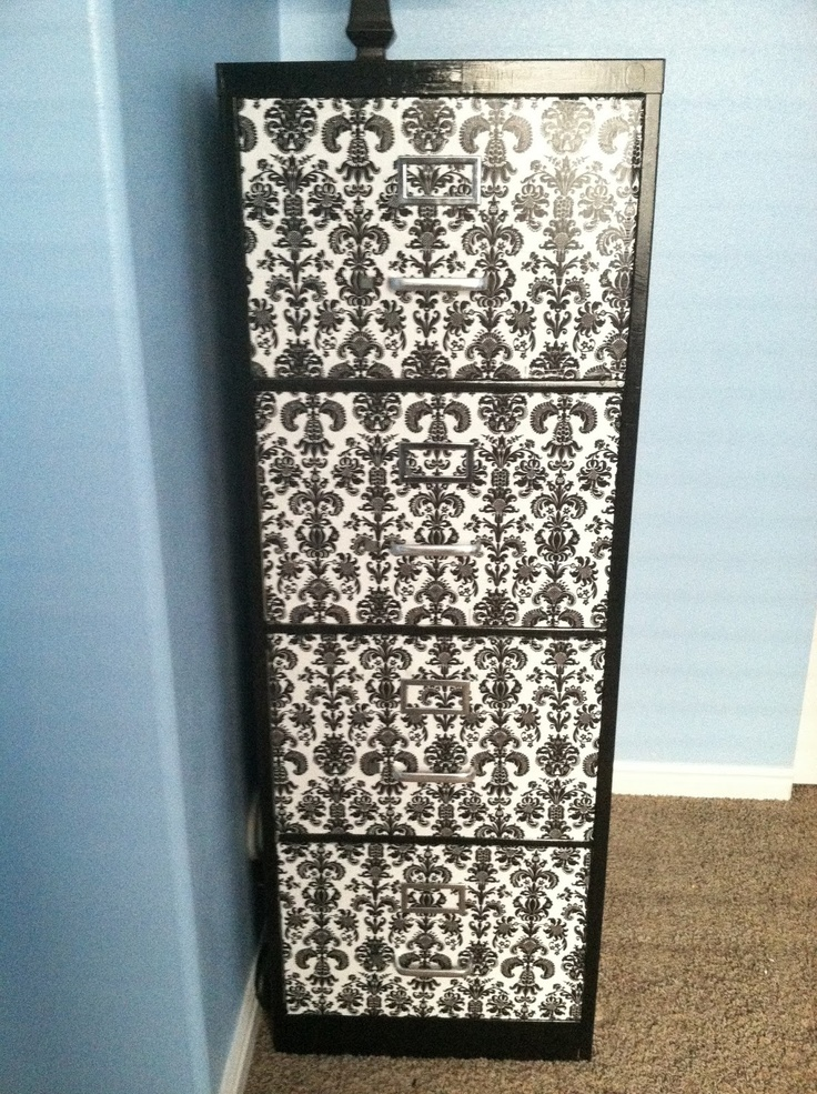 Metal file cabinet REDO! - This would be cool for my filing cabinet in my craft room.  Think I will have to do this.