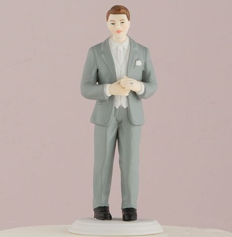 This unique figurine showcases a modern grey suit. These figures will also co-ordinate with all our other mix and match cake toppers. Hand painted porcelain. <br /> <br /> Please note: The hair color or colors you have requested may not be an exact match to your natural hair color and also (when applicable) the hair color that remains and is original to...