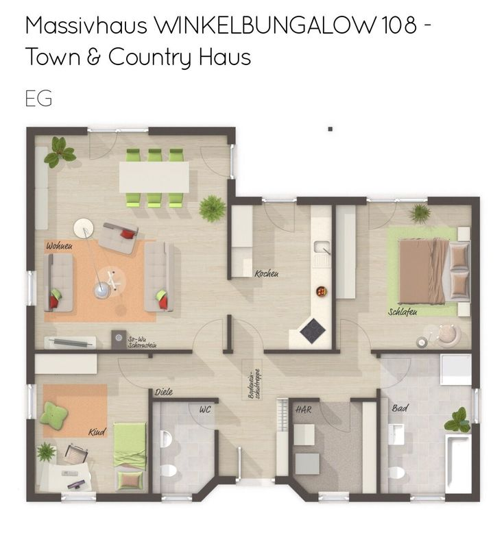 Grundriss Bungalow Haus ebenerdig mit Walmdach Architektur