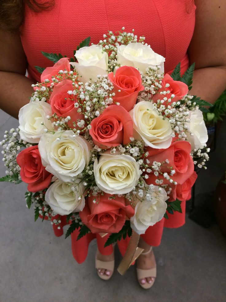 Coral and white rose wedding bouquet