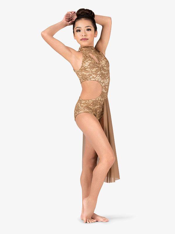Womens Performance Lace Mock Neck Asymmetrical Dress Com Imagens