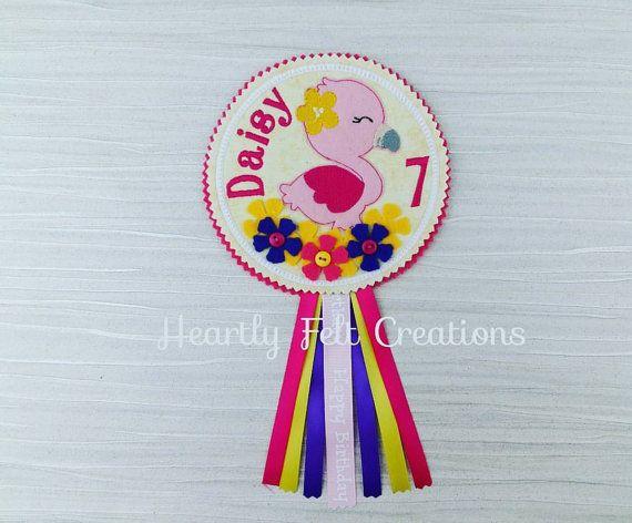 Flamingo Personalised Birthday Badge Rosette - Celebration Birthday Party Gift - Name Age - Felt Flowers