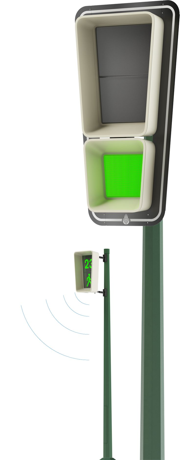 Istanbul Isiklarius traffic lights. Safety    Isiklarius is equipped with a system developed in our studio that detects visually impaired and handicapped pedestrians. It uses special icons on the signal panel to warn drivers when such persons approach the crossing.    There is a sound signal for visually impaired that also alerts other pedestrians and drivers.