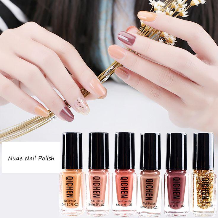 6 Pcs/Set Nude Color Water Nail Polish Soak-off Nail Art Colorful UV Nail Gel Po…
