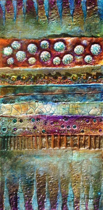 """ARTFINDER: The Secret by Maria Fondler-Grossbaum - This unusual wall sculpture is titled """"The Secret"""". This piece has thick layers of paint in a variety of colorus, rhinestones, modeling and crackle paste. Ev..."""
