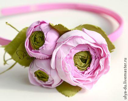 Нежный ободок с цветами - бледно-розовый,ободок для волос,ободок,ободок с цветами