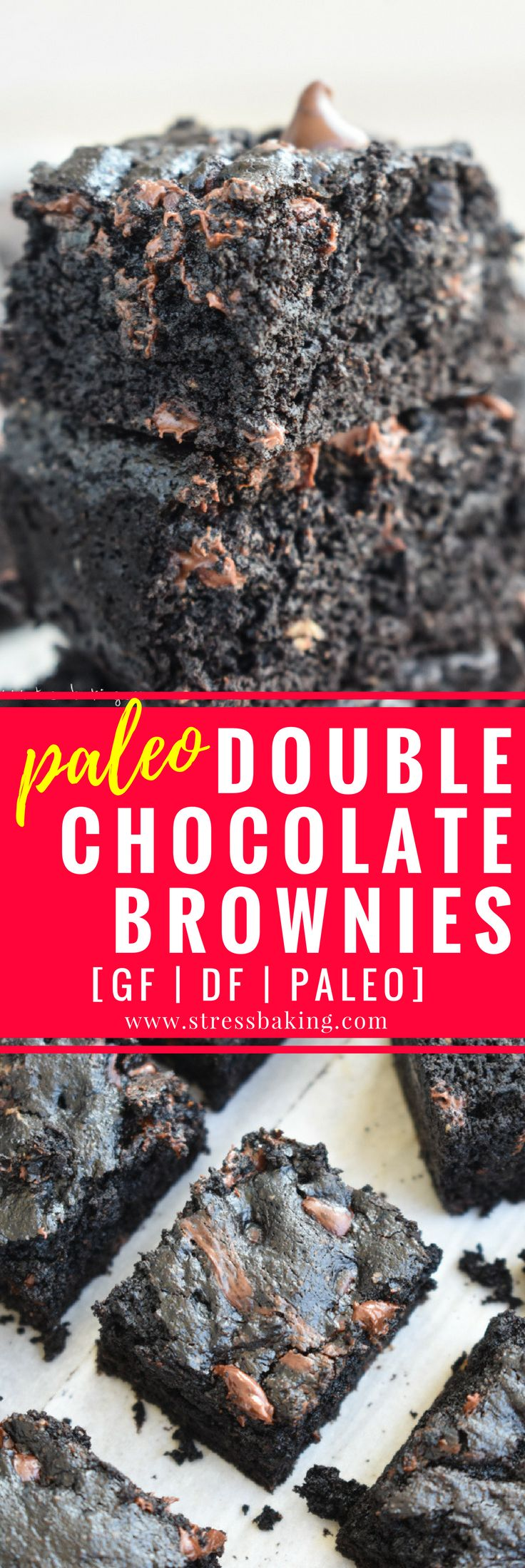 Paleo Double Chocolate Brownies: Chocolate brownies so thick and rich that you would never know they're gluten free, dairy free, and paleo!   stressbaking.com