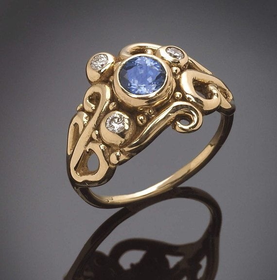 14Kt. Gold Sapphire Swirl Engagement Ring September