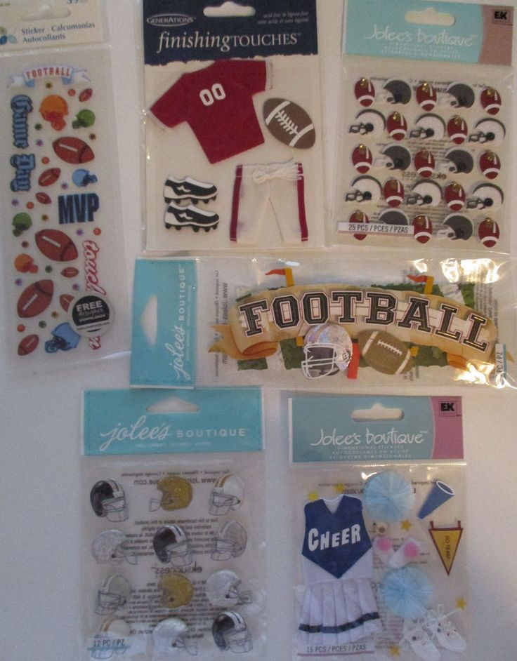 Scrapbooking Stickers Lot Jolee's Boutique & Generations FOOTBALL Cheerleader  #JoleesBoutique #DimensionalEmbellishments