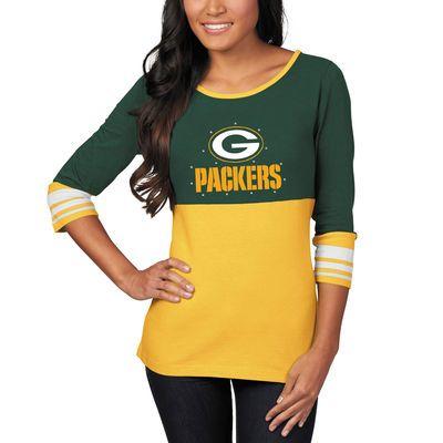 Green Bay Packers Majestic Women's Roster Push Three-Quarter Length T-Shirt - Green