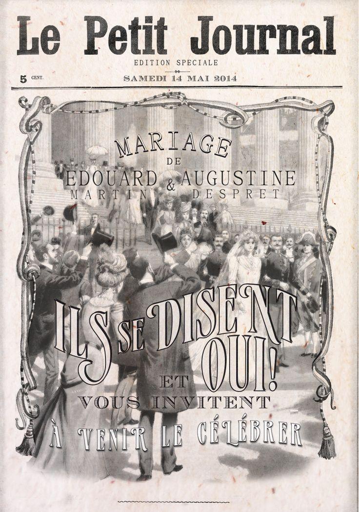 """"""" E D I T I O N S P E C I A L E """" découvrez notre nouveau faire-part de Mariage Vintage """"PETIT JOURNAL""""  http://www.iloveyoupaper.com/#!petit-journal/cjji"""