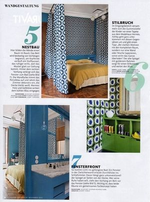 Bright color and bold graphics are a feature of Where I'd Stay's St Sulpice flat, as featured in Germany's Schøner Wohnen Magazine (October 2015)