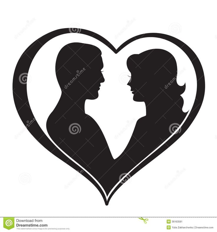 man and woman silhouette | Man and Woman Silhouette in Heart Shape. Vector illustration.
