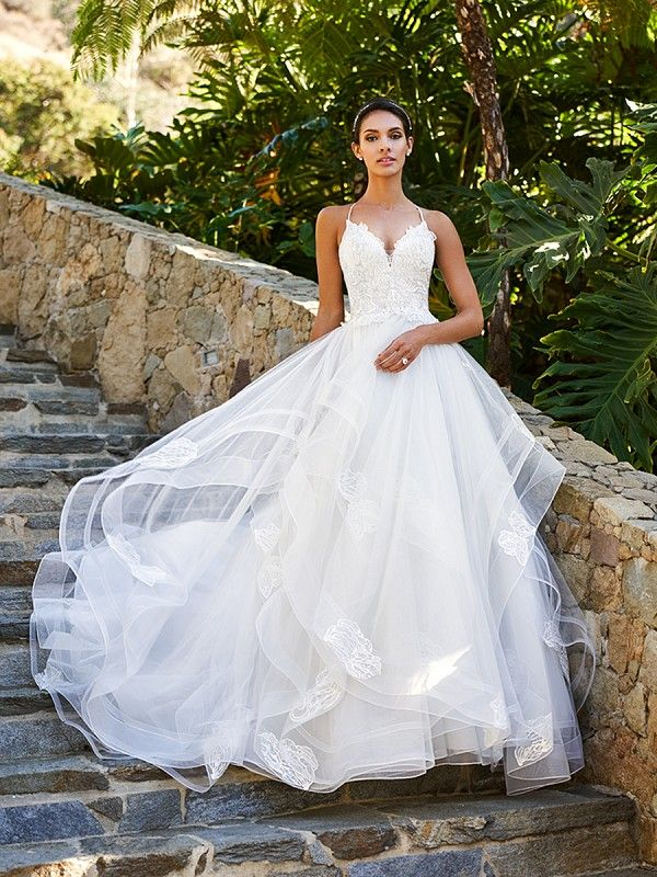 Moonlight Collection J6581B cascading ruffle A-line wedding gown with spaghetti straps