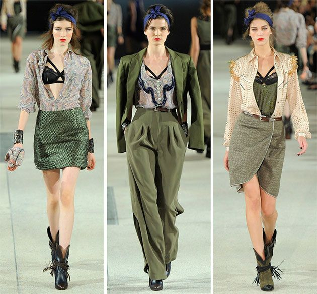 The designer started the Alexis Mabille 2014 runway show with more boyish or military looks and increased the femininity in the next arrivals. The first look of the show was a khaki suit with loose pants and a top that has the most seductive neck cut ever.