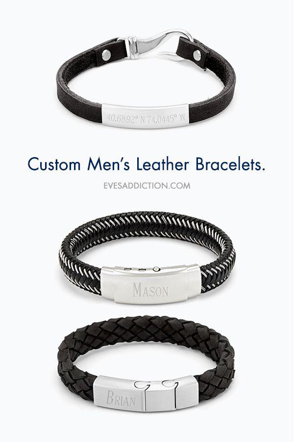 Black and White Bracelet Gift for Him Custom Bracelet Boyfriend Gift Cuff Bracelet Men/'s Bracelet Leather Bracelet Men