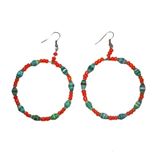 Handcrafted by #Ugandan #artisans out of #glass and #recycled #paper, add a pop of #color to your wardrobe with a pair of these Abiodun #earrings. You'll be helping #Ugandans out of poverty through income generation opportunities, education, and social support