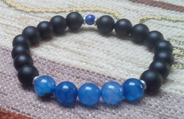 Matte black onyx, blue dragon veins - 8 mm