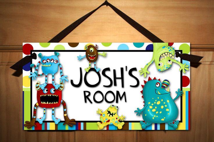 Mr. Monster and Friends Boys Bedroom DOOR SIGN. $14.00, via Etsy.