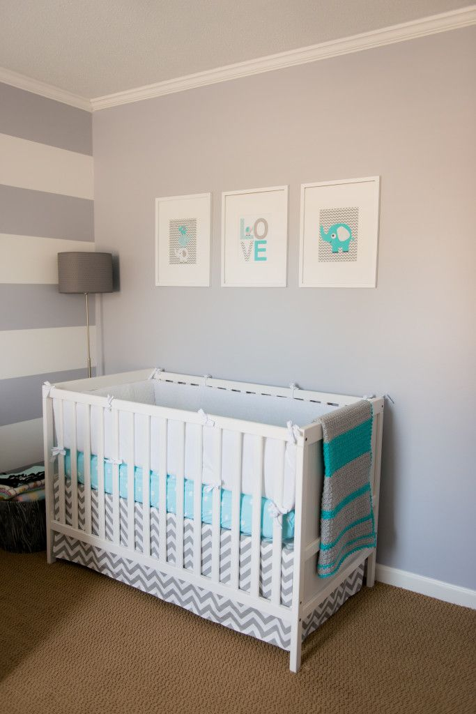 gray and white stripes, accent wall not with crib against it