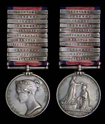 Victorian era Military General Service 1793-1814, with 11 clasps, Talavera, Busaco, Albuhera, Ciudad Rodrigo, Badajoz, Salamanca, Vittoria, Pyrenees, Nivelle, Orthes, Toulouse, awarded to  J. Wright, Drumer 48th Foot.