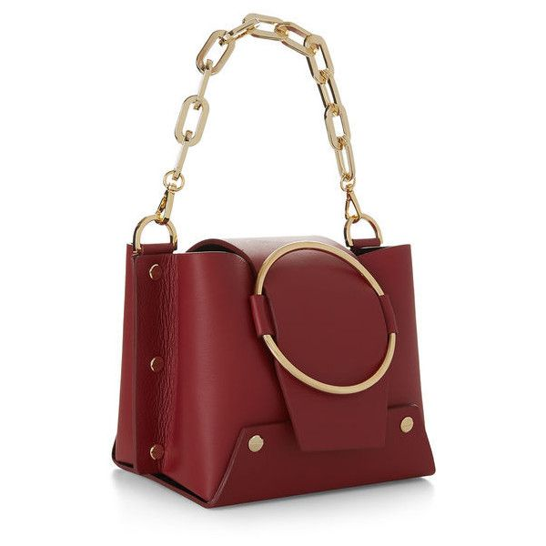 Yuzefi Ruby Mini Delila Bucket Bag (£395) ❤ liked on Polyvore featuring bags, handbags, shoulder bags, hand bags, evening handbags, mini handbags, chain shoulder bag and red handbags