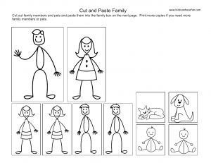 family cutouts | ... and paste family page0 300x231 Cut and Paste Kids, Family Worksheets