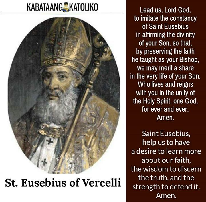 Saint of the Day August 2  St. Eusebius #kabataangkatoliko  Christians who breathed a sigh of relief when Constantine proclaimed Christianity the state religion believing this would end the bloodshed and martyrdom. But it was all too short a time until they were facing persecution once more -- from others who claimed to be Christian.  When Christianity became the state religion many people adopted it for political reasons. Others adopted it without truly understanding it. Under these…