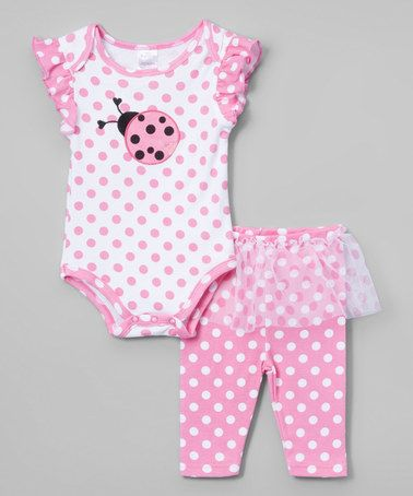 Love this Pink & White Ladybug Ruffle Bodysuit & Leggings - Infant on #zulily! #zulilyfinds