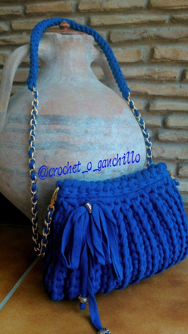 bolso de trapillo realizado a crochet by Crochet O Ganchillo