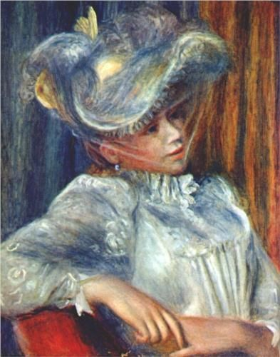 Woman in a hat - Pierre-Auguste Renoir  (1841–1919) was a French artist who was a leading painter in the development of the Impressionist style.