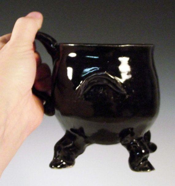 Cauldron Mug Large Black Footed Dancing by BigSkyArtworks on Etsy