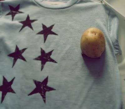 Stamp cloth napkins, a blank apron, or t-shirts with hand-carved potato stamps dipped in fabric paint