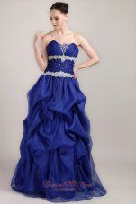 Plus Size Royal Blue A-line Sweetheart Floor-length Taffeta and Organza Beading Prom Dress - US$149.89 this is pretty