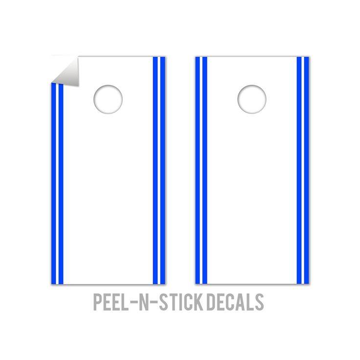 Classic Stripe Edge - White, Blue Cornhole Board Decals, Natural