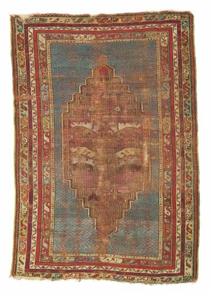 Anatolian-Kirsehir-prayer rug  end of the 19th century, ghiordes-knot, worn, damaged, incomplete 153*107 cm