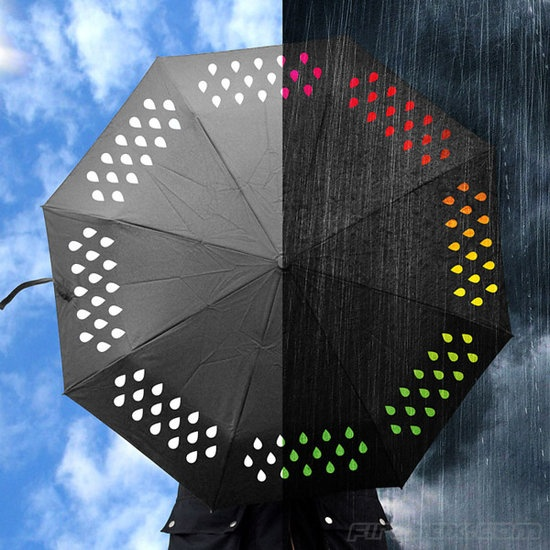 This Color Changing Umbrella contains white raindrops with hydrochromatic ink. So what's the English translation? The raindrops turn colors when wet.