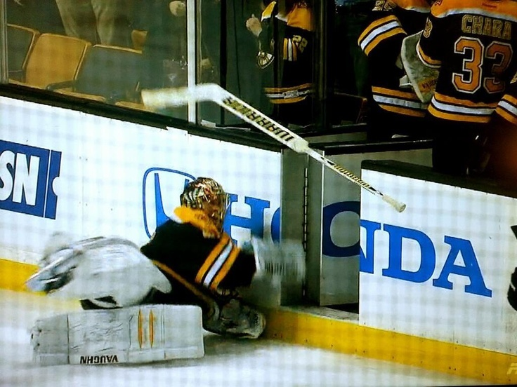 lol Rask loses his balance and dignity . Habs win