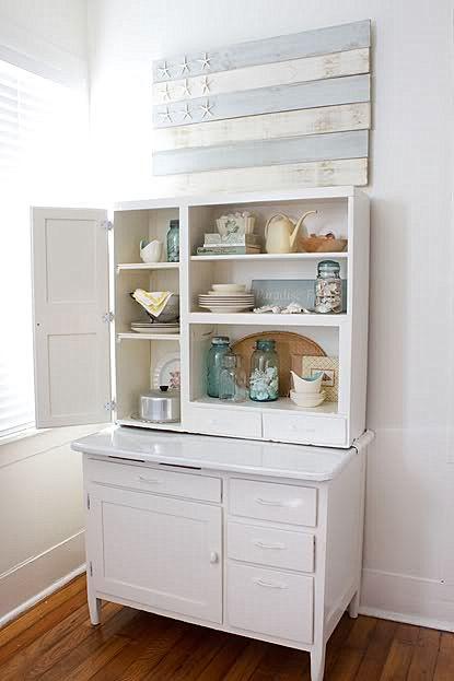 white Hoosier cabinetBall Jars, Beach Home, Ideas, Beach Cottages, Hoosier Cabinets, Blue Jars, Beach Houses, Beach House Decor, White Cabinets