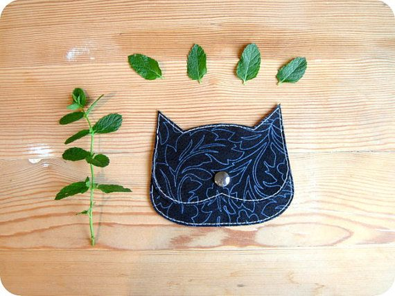 Black Cat coin purse Catnip pouch printed suede by RachelaPiras