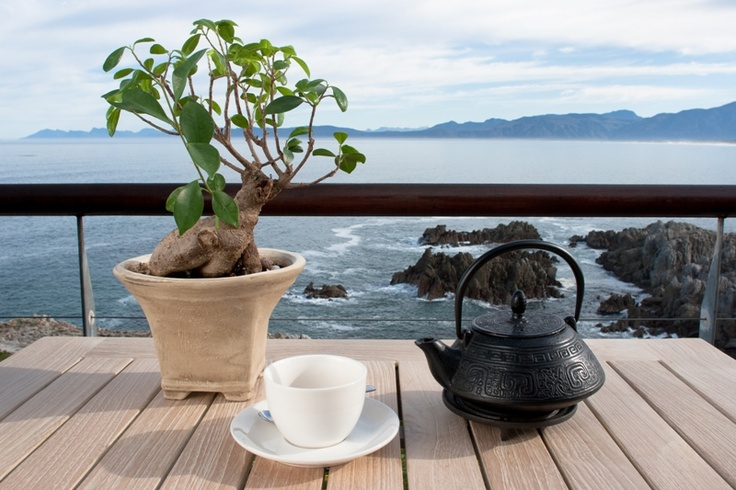 Tea time on the deck of Cliff Lodge, De Kelders, South Africa.