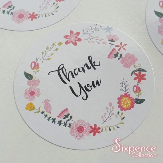 48 x White Gloss Floral Thank You Envelope or Favour Sticker