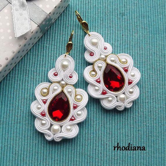 Mega White rosso e oro con cristalli di RhodianaSoutache su Etsy