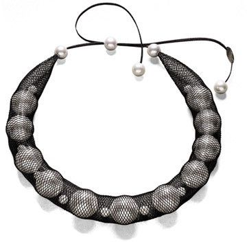 Pearl and Mesh Tube Necklace