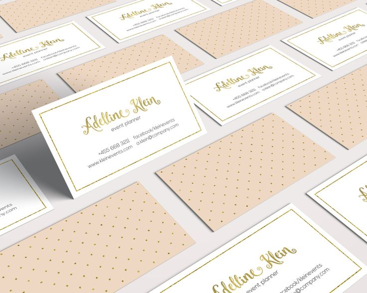 Golden Glitter Business Card Design, Polka Dots, Soft Colors, Elegant, Feminine, Unique by SmallBottleCreations on Etsy