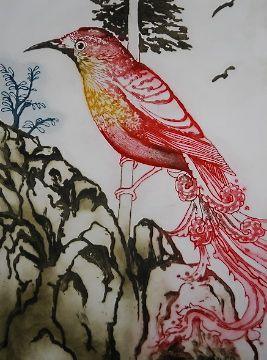 Gathering of the Birds II by Mandy Renard - printmaker - Tasmanian artist