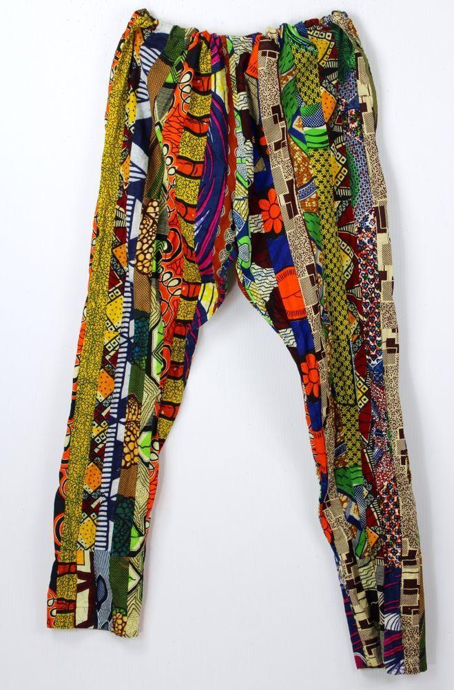 African Patch Pants Multi Wax Print Fabrics 48X35 Kwanzaa