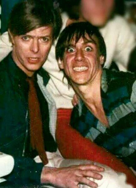 David Bowie with his buddy, Iggy Pop.