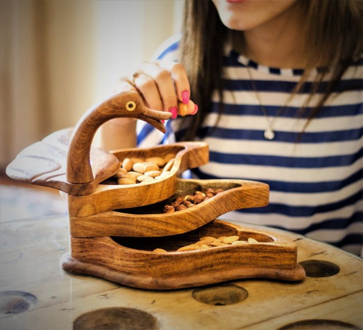 Rosewood hand-carved 3-tier swan snack platter